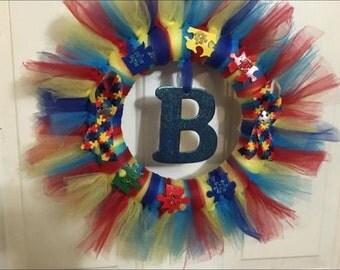 Puzzle piece tulle wreath