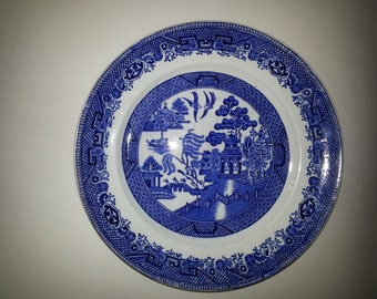 W Adams & Sons Blue Willow China PLATE Warranted Staffordshire England OVER 100Y/O