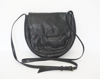 Vintage Small Black Leather Crossbody Purse