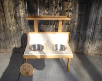 Custom tile dog feeder with cat platform