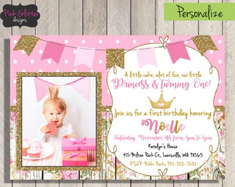 Princess Birthday, Princess First Birthday, Princess Birthday Invite, Princess Birthday, First Birthday Invite, Girl First Birthday, DIGITAL