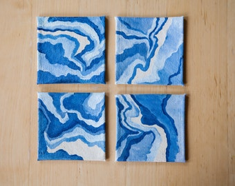 Set of 4 Blue Marble Canvas Coasters