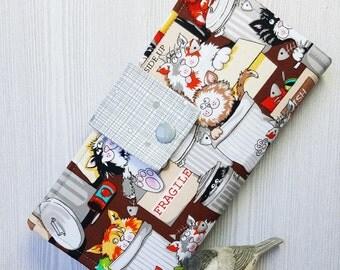 Cats in Cans Women's wallet, womans clutch wallet, credit card wallet, handmade bifold wallet, checkbook wallet, fabric wallet, gift idea