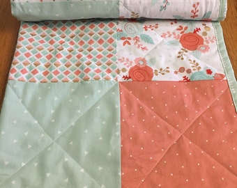 Coral and mint floral baby quilt, coral, mint, modern, triangles, polka dots, flowers, baby girl