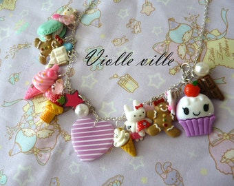 Big cute many pendants necklace