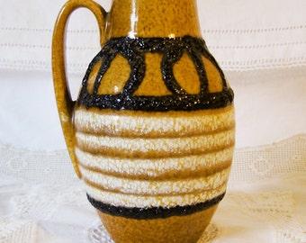 Mid Century Scheurich W.Germ Pottery 414-16 Vase, Ochre, Brown, White.