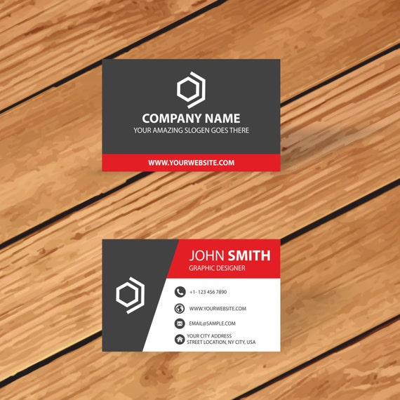business card template instant download print modern elegant