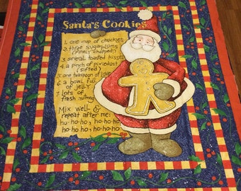 Santa's Cookie Recipe cotton quilting fabric for Christmas