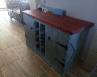 Rustic / Washed Wine Cabinet