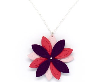 "Necklace leather flower ""lotus"" rose and violet made hand"