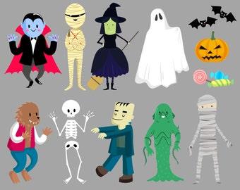 Halloween clipart, Costume clipart, Halloween kids clipart,Trick or Treat, Halloween Graphics 2
