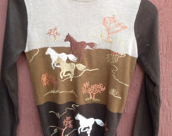 Wild Horses Vintage Embroidered Sweater