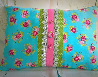 Gorgeous vintage handmade floral and lace pillow