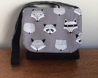 Children's Messenger Bag, Kids Messenger Bag, Girls Cross Body Bag, Fox Print Bag