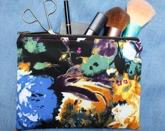 Dark Floral print - Medium Zippered Pouch / Makeup Bag / Cosmetic Bag