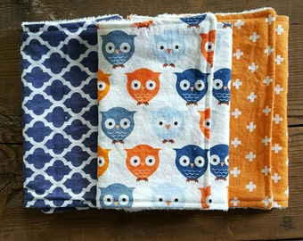 Owl Burp Cloth Set
