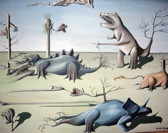 Extinction of the Dinosaurs, oil painting