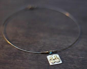 Handmade-jewelry-unique-silver necklace-Turquoise stone-Bronze age twen necklace.