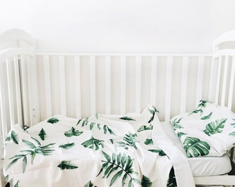 Baby Bedding - Nursery Bedding - Green Tropics Bedding - Baby Bedding Crib - Unique Bed Clothing - Handmade Bedding Set - Green And White