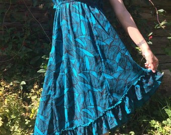 Elastic Asymmetrical Cotton Summer Dress  Beach Dress Tube Top Dress Light Blue Floral Dress Beachwear Size Large