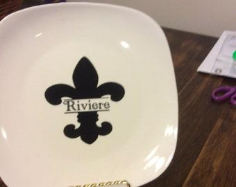 Personalized Flur de lis plates