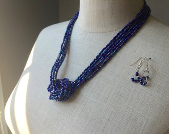 Iridescent Seed Bead Knot Necklace