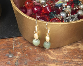 "Earrings-3/4"" Sterling Silver, Jade And Freshwater Pearl"