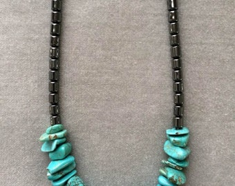 """18"""" Turquoise, freshwater pearl and hematite necklace"""