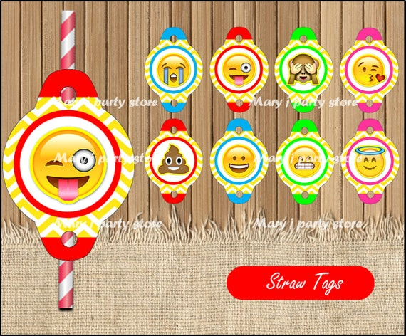 Downloadable Emoji Straw Toppers