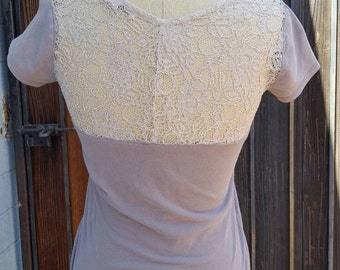 Recycled Thrift Store Tee with Vintage Lace Insert (Size Small)