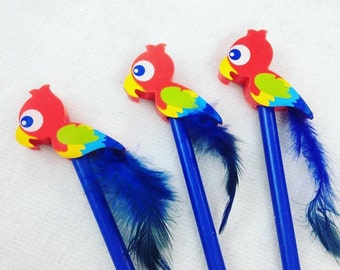 Funky Blue Parrot Pencil with Eraser Fun Kids Stationery, Office, Gift, Tropical