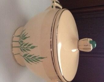 1930's Vintage Art Deco Sugar Bowl/Covered Dish, Leigh Ware, Green Wheat, USA