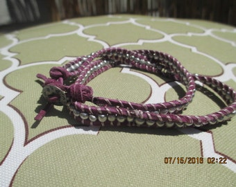 Leather double wrap bracelet - Purple with silver beading