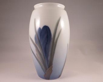 Vintage B&G Copenhagen Porcelain Blue, White, Green Vase - Bing and Grondahl - Denmark - 1950s