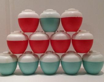 Vintage 1970s ADMIRATION Plastic Salt & Pepper Shakers Red, White, Blue Bean Pot Shape