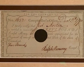 Revolutionary War Debt Payment In Frame. Connecticut Comptrollers-Office. Date 1790.