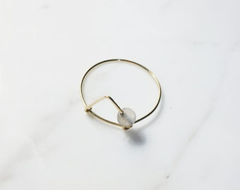 Minimalist Triangle Ring with Natural Agate