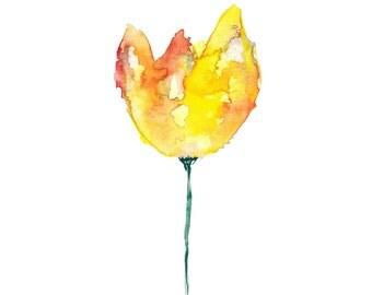 Yellow watercolor yellow flower print watercolor art watercolor painting artwork nursery print (38) artprintshopGB
