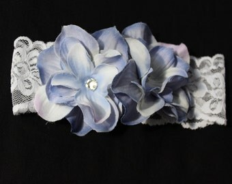 Newborn Purple Hydrangea and Lace Headband, Handmade