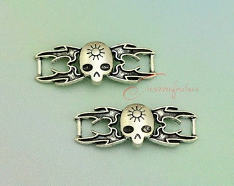 15PCS--39x14mm ,Skull connector Charms Antique Silver Tone Halloween Charm , DIY Findings, Jewelry Making JAS2012