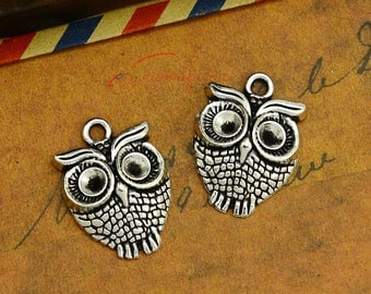 15PCS--23x17mm ,Owl Charms, Antique Silver Bird Wise Owl Charm pendant, DIY supplies,Jewelry Making JAS0034