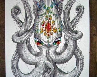Kraken, A3 squid/octopus print
