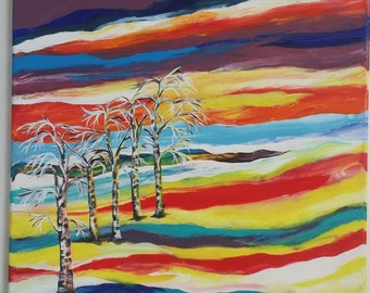 "Acrylic painting abstract landscape ""Birch"""
