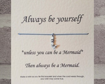 Handmade Always be a Mermaid Tibetan Silver Charm Wish Bracelet & Message Card.   Handmade By Erin