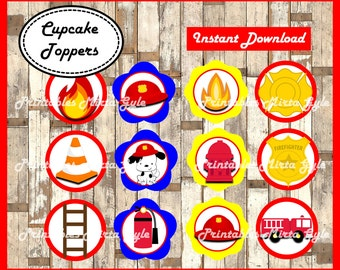 Fireman cupcakes toppers, printable Fireman party toppers, Fire truck toppers