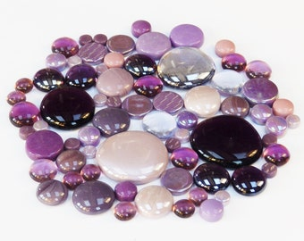 200g Round Mix of Glass Pebbles & Mosaic Tiles - Purple