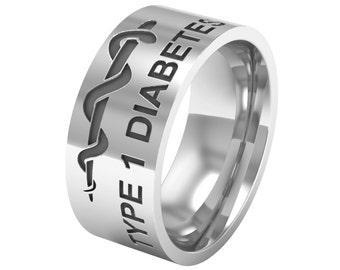 Silver Medical Alert Ring, Type 1 Diabetes, Diabetes Medical ID, Diabetes Ring, Diabetic Band Ring, Diabetic Jewelry, Emergency ID Ring