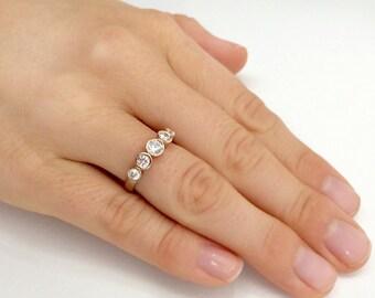 14K Solid Gold Five Diamond Ring, Bezel Setting Diamond Ring, Wedding Ring, Diamond Engagemet Ring, Pave Ring, Five Diamond, Bridal Ring