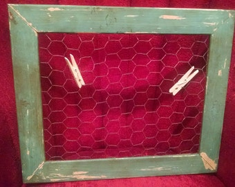 Vintage-style Distressed Aqua Picture Display