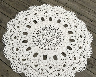 "40"" in diameter unique handmade off white crochet rug"